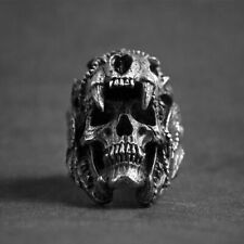 Men Jewelry 316L Stainless Steel Biker Warrior Skull Punk Ring Jaguar Vintage
