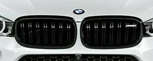 BMW 2015+ F16 F86 X6 M OEM X6 m Performance Front Gloss Black Grille Pair NEW