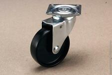"1 set (2x swivel, 2x fixed) 100mm (4"") plate black PP castors 55kg"