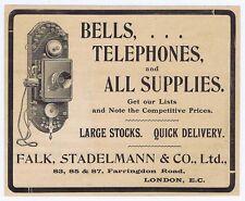 Falk, Stadelmann & Co Telephone Manufacturer - Antique Engineering Advert 1904