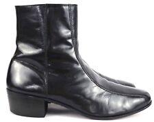 Florsheim Mens Glossy Black Ankle Dress Boots Side Zipper Sz 10.5 E (Wide)