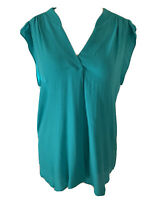 Comptoir Des Cotonniers Pacific Green Blouse V-Neck Crepe Sleeveless Top Size 14
