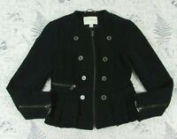 Banana Republic Black Ruffle Tweed Boho Moto Stretch Zip Up Jacket womens 6