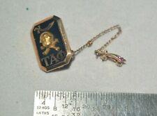 1936 Vintage/Antique 10K GOLD Enamel TAU ALPHA PHI Skull Sword FRATERNITY PIN