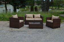Poly Rattan Sitzgruppe Gartenmöbel Lounge Set Rattanmöbel Garnitur braun