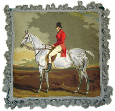 """16"""" x 16"""" Handmade Wool Needlepoint Horse and Rider Pillow with Tassels"""