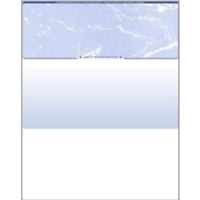 50 Blank Check Stock Paper - Check on Top - Blue Marble