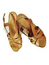 """Aerosoles  Babylight sz 9 1/2 M tan/ camel Strappy 4"""" Heel Wedge Comfort Sandals"""