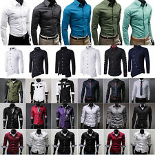Mens Slim Fit Business Shirt Long Sleeve Dress Shirts Collar Button Casual Tops