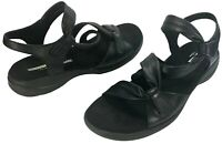 Clarks Women's Saylie Moon Strappy Sandals Black Leather Size 10 M