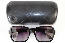 Chanel 5408 black signature logo gradient square frame sunglasses NEW $535