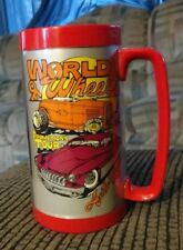 Vintage Thermo-Serv Mug World Of Wheels Promotions Tour Cassic Cars 16 Oz Red