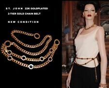 ST JOHN Authentic 22k Goldplated 2-tier Signature Chain Belt