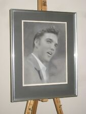 MALCOLM STEAD Original Mixed Media Painting Portrait of Elvis Presley in 1950's