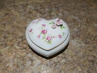 Vintage Towle Bone China Trinket Box Heart Flower White Pink Taiwan Jewelry