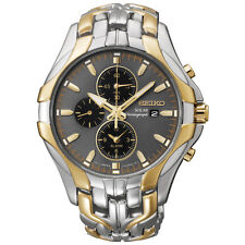 Seiko SSC138 Mens Solar Chronograph Alarm Date Two Tone Stainless 43mm Watch