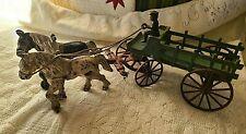 Antique Kenton Hardware Co.Cast Iron Horse Drawn Stake Body Farm/Beer Wagon Toy
