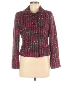 Ann Taylor Red Pink Black Blazer Size 8P