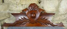 """38""""  Antique French Hand Carved Wood Mahogany Pediment -"""