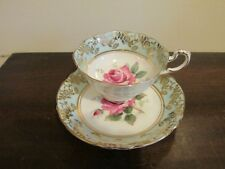 Vintage Paragon England Tea Cup And Saucer Large Cabbage Rose Light Green Gold