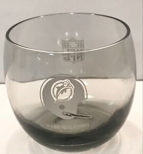 Vintage 1970s Miami Dolphins Round Smoke Glass Cup NFL, good condition