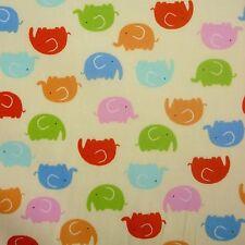 Lemon 100% Poplin Cotton Fabric with Multi Elephant Print Animal Zoo (Per Metre)