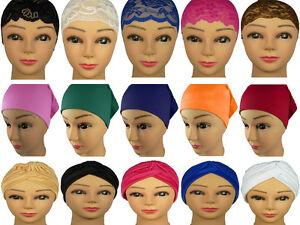 Stylish Under Scarf Bonnet Plain Lace Tube Cap Turban Hat for Hijab Head Scarf