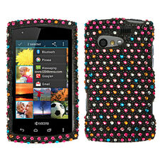 For Kyocera Rise C5155 Crystal Diamond BLING Hard Case Phone Cover Rainbow Dots