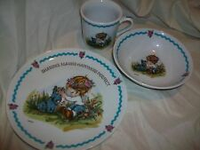 Vintage Table Talk WWA World Wide Arts Girl Dog Child Dish Set Plate Mug Bowl