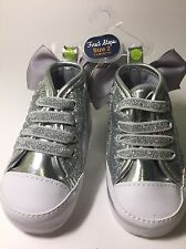 First Steps Baby Girl Shoes Silver Metallic Glitter Sneakers With Bow Size 2