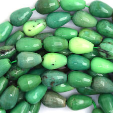 """8x12mm faceted green chrysoprase teardrop beads 15.5"""" strand"""