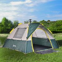 Outdoor Pop-Up Camping Tent 3-4 Person W/  Doormat, Hook, Carrying Bag