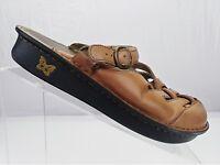 Alegria Mule Sandals - Brown Leather Comfort Clogs Slides Women's Sz 38 US 8/8.5