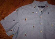 NWT Ralph Lauren Blue Oxford Shirt NAUTICAL FLAGS/ANCHORS/LIGHTHOUSES Men's S