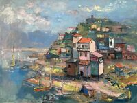 Häuser am Meer See Italien Adria? Ferenc Bordás 1911-1982 Ungarn 60,5 x 80,5 cm
