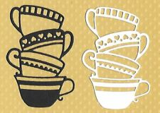 DIE CUTS - 10 X TEA POT STACK - BLACK AND WHITE