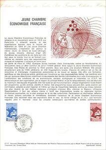 Timbre 1er jour sur document philatélique - JEUNE CHAMBRE éco. FRANCAISE -1977