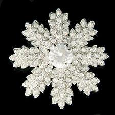 SNOWFLAKE made with Swarovski Crystal starburst Holiday Wedding Bride Pin Brooch