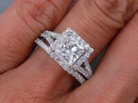 14k White Gold Over 2.00 Ct Princess-Cut Diamond Halo Bridal Set Engagement Ring