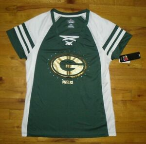 NWT Women's NFL Majestic Green Bay Packers Green/White Sequin Jersey Top Sz L