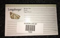 Sealed Longaberger 3x5 Recipe Cards (100 Ct. w/ 12 Dividers) Item #73989