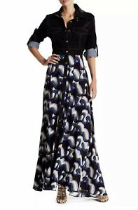 TOV Holy Women's Denim Top Button Down A-Line Maxi Dress Black Multi Size 44/L