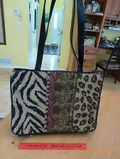 Big Coldwater creek shoulder purse tote shopper bag cheetah leopard tiger print