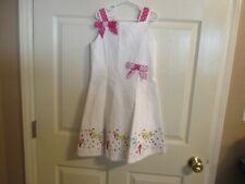 Rare Editions Size 6x Girls White With Embroidered Shoes & Colorful Dots