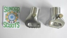 ONE PAIR POLISHED ITALIAN STYLE STAND FEET. SUITABLE FOR VESPA SCOOTERS