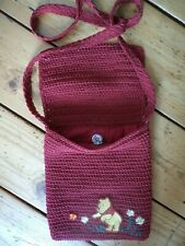 More details for vintage disney store winnie the pooh cross body bag red crochet rayon 8
