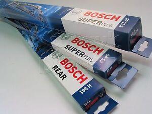 Set of 3 Bosch Super Plus Wiper Blades for VW Mk4 Golf Hatchback 1998-2002
