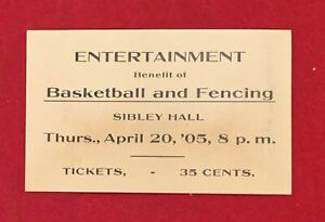 Antique 1905 Cornell Basketball Game & Fencing Ticket Stub Early Old Vintage