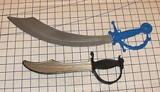 Lot of 2 Plastic Toy Scimitars Swords Pirate Cutlasses US and China VG