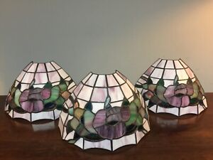 PRELOVED STAINED GLASS SET OF 3 WALL LIGHTS